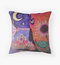 Sunflower Moonlight Throw Pillow