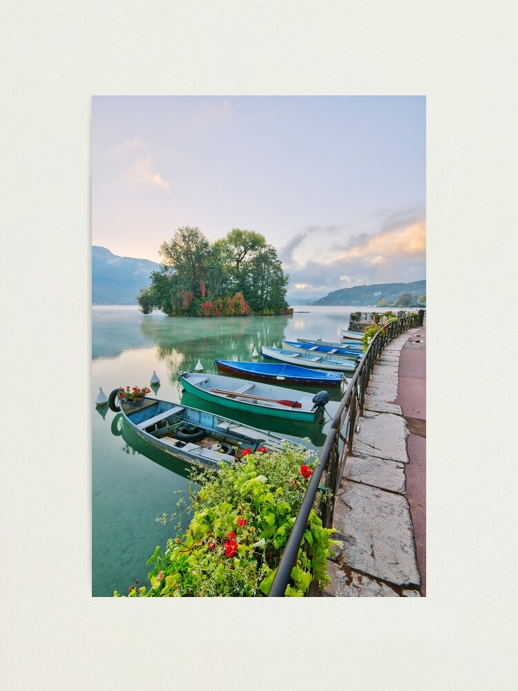 Alternate view of Annecy lake and the Swans Island Photographic Print