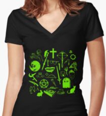 Buffy Symbology - Green Women's Fitted V-Neck T-Shirt