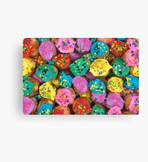 Colorful Decorated Donut Holes with Icing & Sprinkles Canvas Print