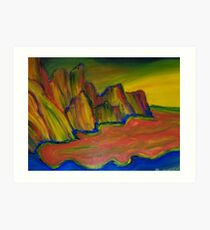 Vibrant Cliffs Finger Painted Painting MKART Art Print