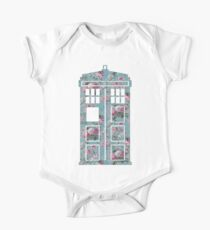 Floral Police Box Short Sleeve Baby One-Piece