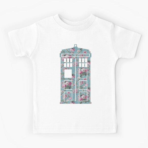 Floral Police Box Kids T-Shirt