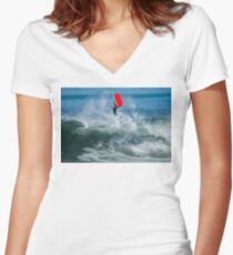 Bodyboarder in action Women's Fitted V-Neck T-Shirt