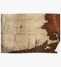 Massachusetts Request-Your-Town Fantasy Map Poster