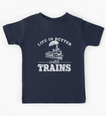 Das Leben ist besser mit den Zügen Kinder T-Shirt
