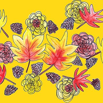 Fall Florals 2 (Yellow background) by chaoticginger