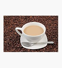 Coffee cup on coffee bean background Photographic Print