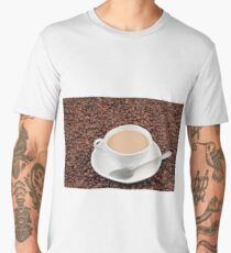 Coffee cup on coffee bean background Men's Premium T-Shirt