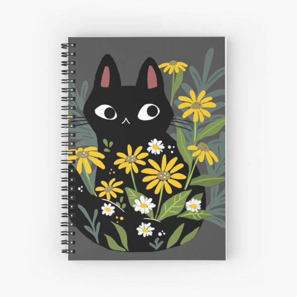 Black cat with flowers  Spiral Notebook