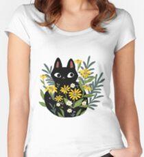 Schwarze Katze mit Blumen Tailliertes Rundhals-Shirt
