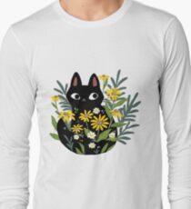 Black cat with flowers  Long Sleeve T-Shirt