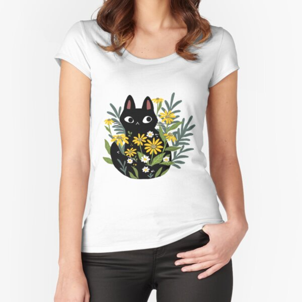 Black cat with flowers  Fitted Scoop T-Shirt