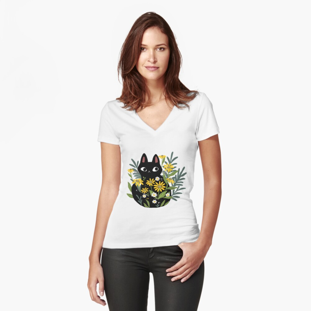 Black cat with flowers  Fitted V-Neck T-Shirt