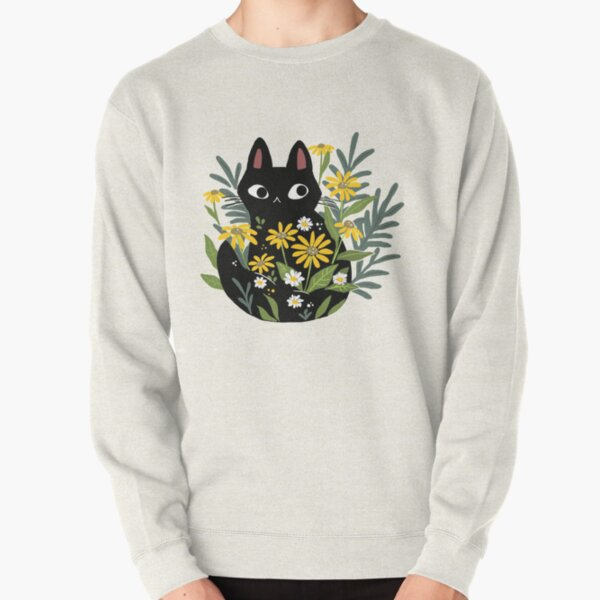 Black cat with flowers  Pullover Sweatshirt
