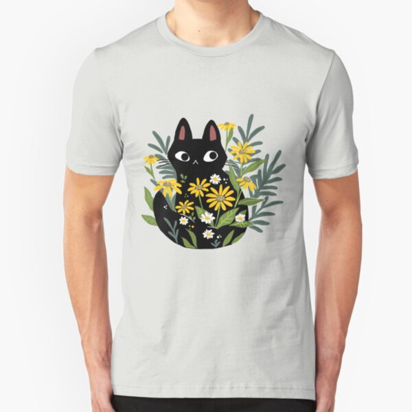 Black cat with flowers  Slim Fit T-Shirt