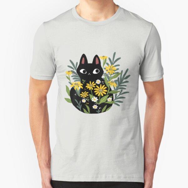 Schwarze Katze mit Blumen Slim Fit T-Shirt