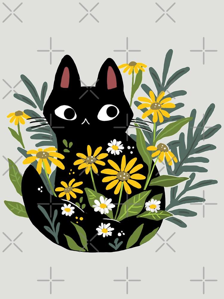 Schwarze Katze mit Blumen von michelledraws