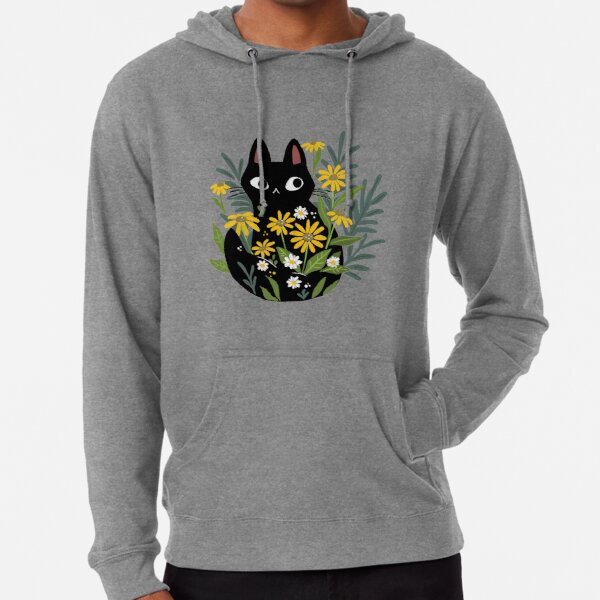 Black cat with flowers  Lightweight Hoodie