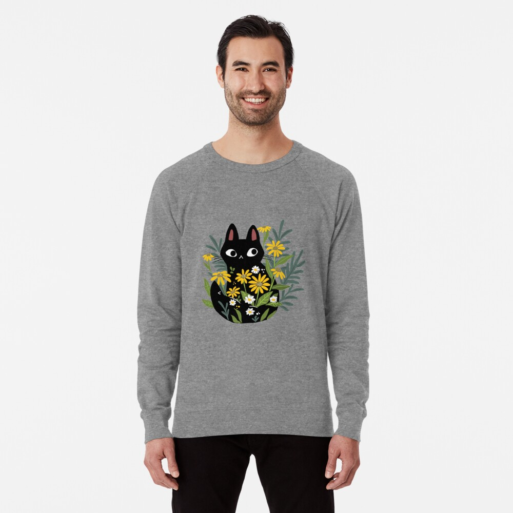 Black cat with flowers  Lightweight Sweatshirt