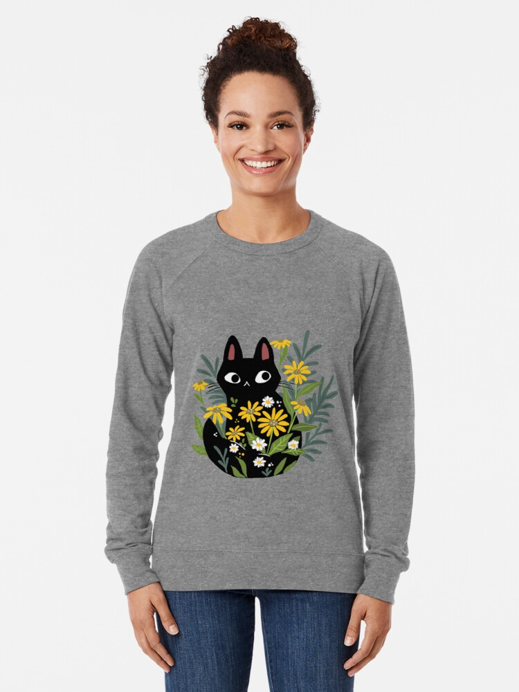 Alternate view of Black cat with flowers  Lightweight Sweatshirt