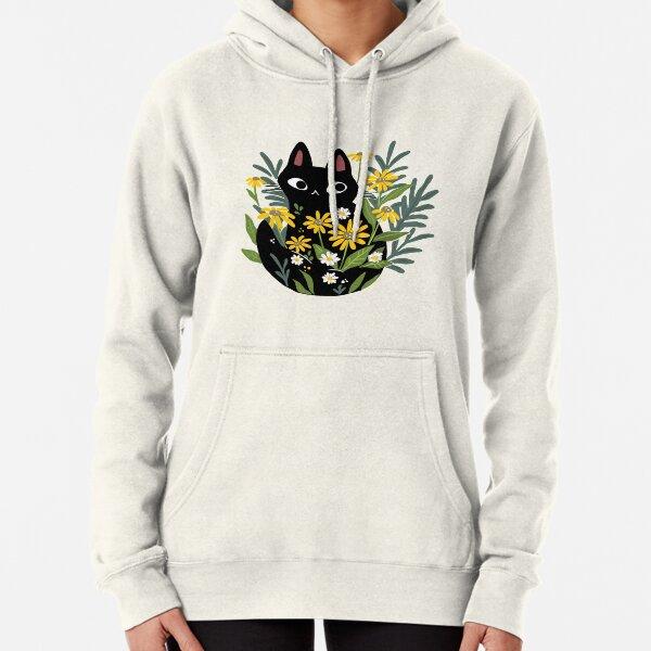 Gato negro con flores Sudadera con capucha