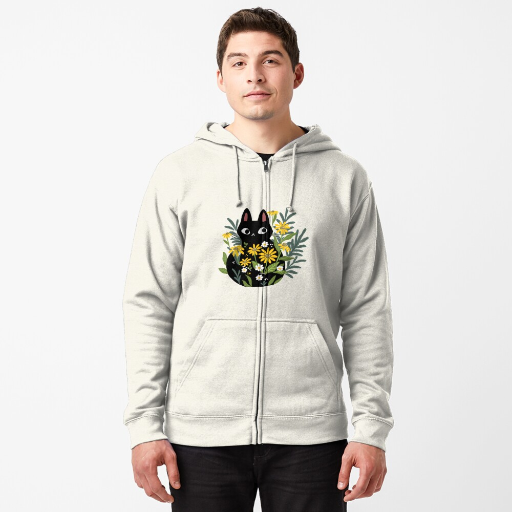 Black cat with flowers  Zipped Hoodie