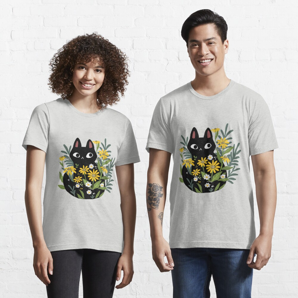 Black cat with flowers  Essential T-Shirt
