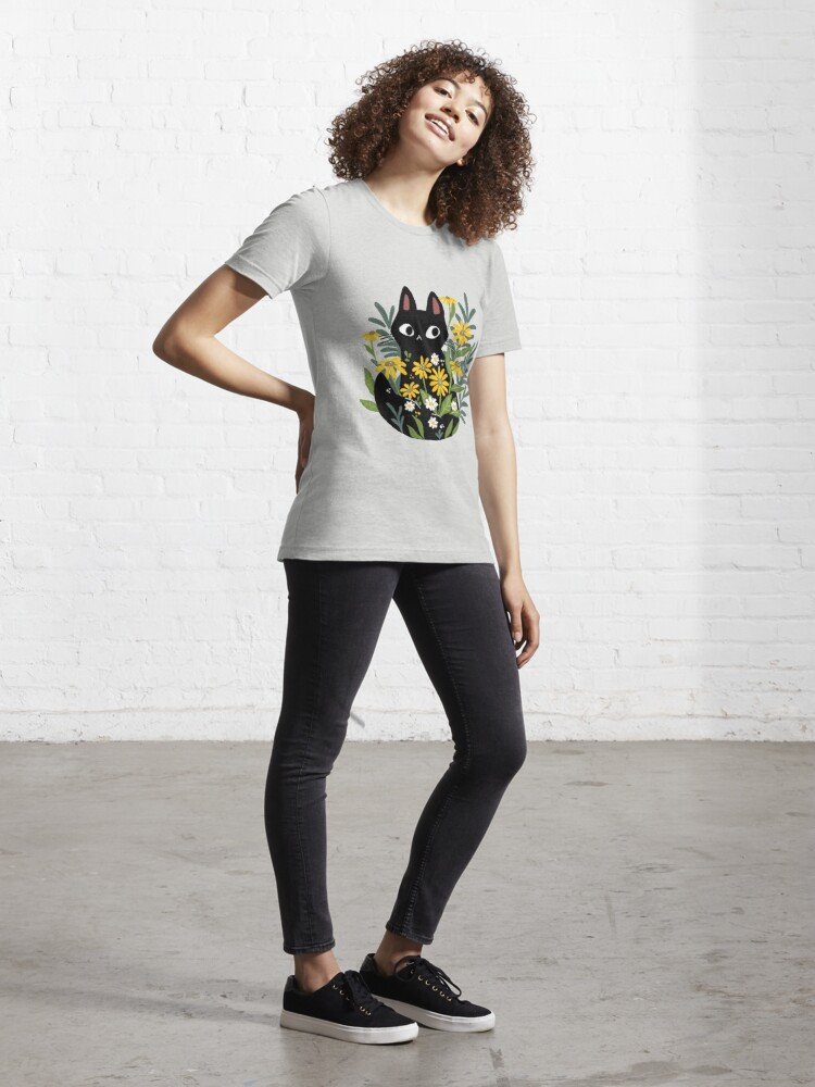 Alternate view of Black cat with flowers  Essential T-Shirt