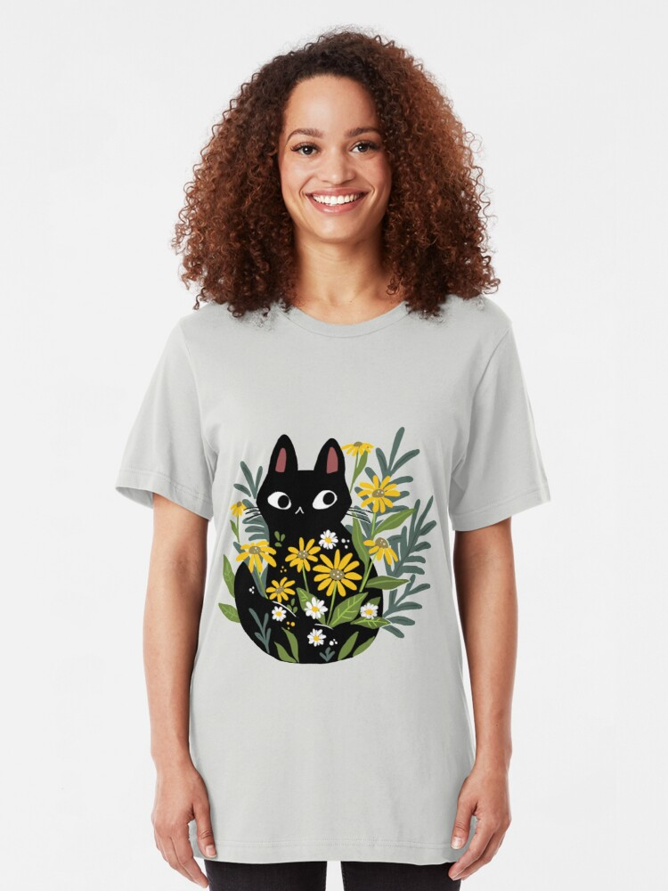 Alternate view of Black cat with flowers  Slim Fit T-Shirt
