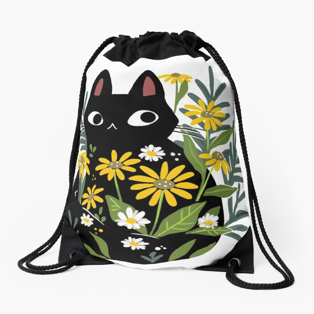 Black cat with flowers  Drawstring Bag
