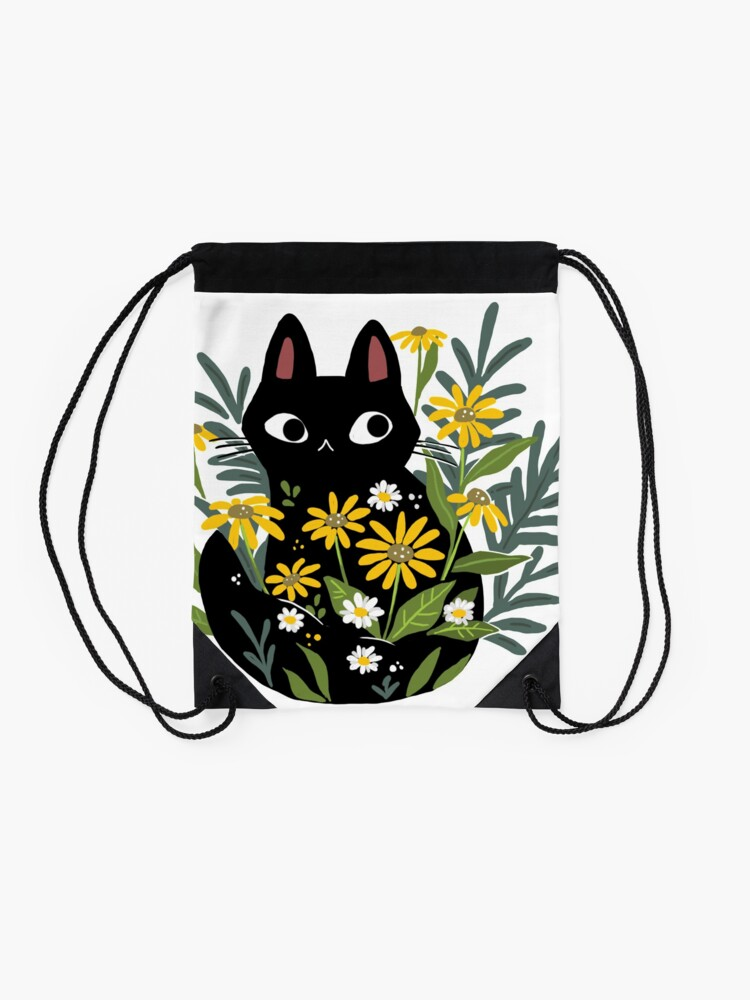 Alternate view of Black cat with flowers  Drawstring Bag