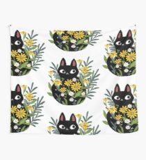 Black cat with flowers  Tapestry