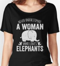 Never Underestiamte A Woman who loves Elephant Women's Relaxed Fit T-Shirt