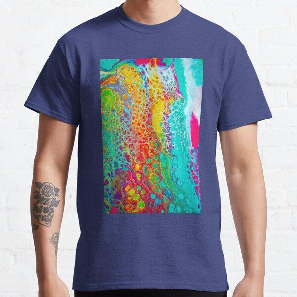 """Cellular Rainbow"" - Acrylic Paint Pour Classic T-Shirt"