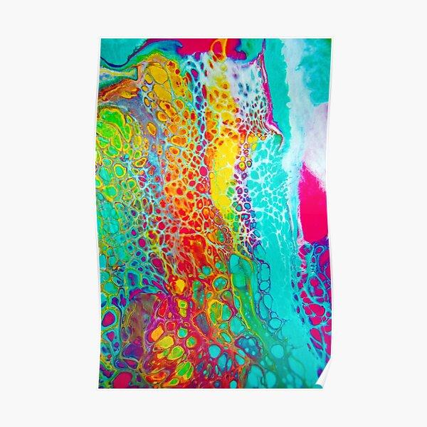 """Cellular Rainbow"" - Acrylic Paint Pour Poster"