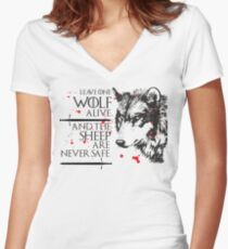 Leave one Wolf Alive and the Sheep are never safe Women's Fitted V-Neck T-Shirt