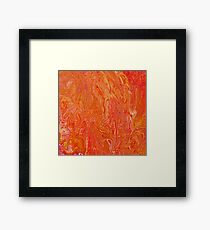 Paint pour in orange, red and yellow Framed Print