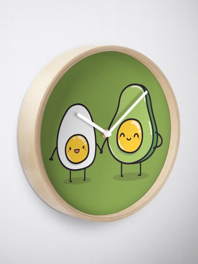 Alternative Ansicht von Ei und Avocado Uhr