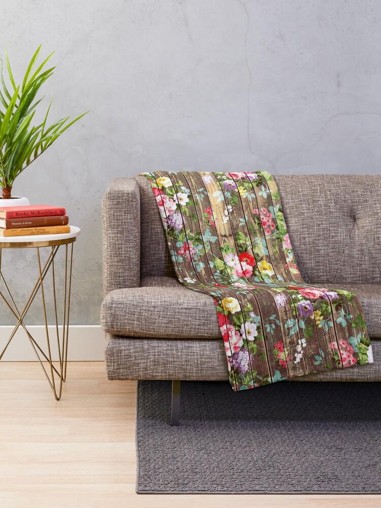 Alternative Ansicht von Blumen-rustikales braunes Holz der eleganten rosa Rosen Fleecedecke