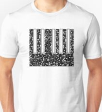 Black and White Inverted Piano Design T-Shirt