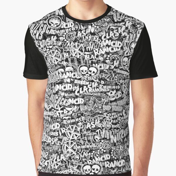 Punk-Rock bands. Stickerbombing Graphic T-Shirt