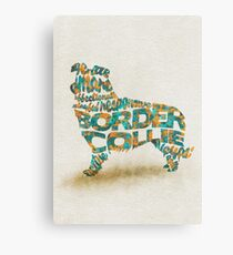 The Border Collie Typographic Watercolor Painting Canvas Print
