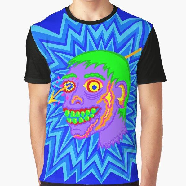 Zombie Head Pop Art Purple Funny Cartoon Graphic T-Shirt