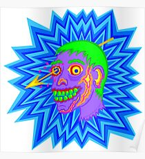 Zombie Head Pop Art Purple Funny Cartoon Poster