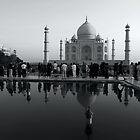 The Taj Mahal, Tourists and Reflections by John Dalkin