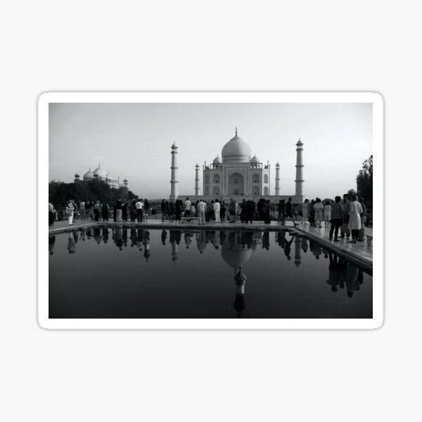 The Taj Mahal, Tourists and Reflections Sticker