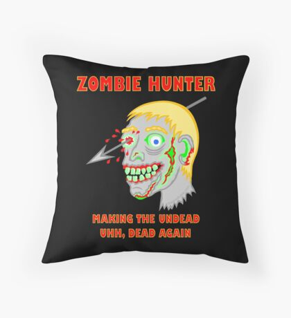 Zombie Hunter Funny Cartoon Walker Undead Head Throw Pillow