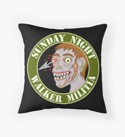 Zombie Patch Funny Sunday Night Walker Militia Throw Pillow