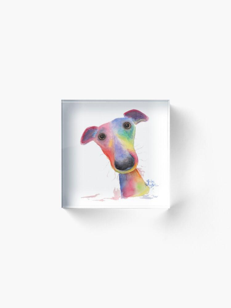 Alternate view of WHiPPeT GReYHouND DOG 'HANK' BY SHIRLEY MACARTHUR Acrylic Block